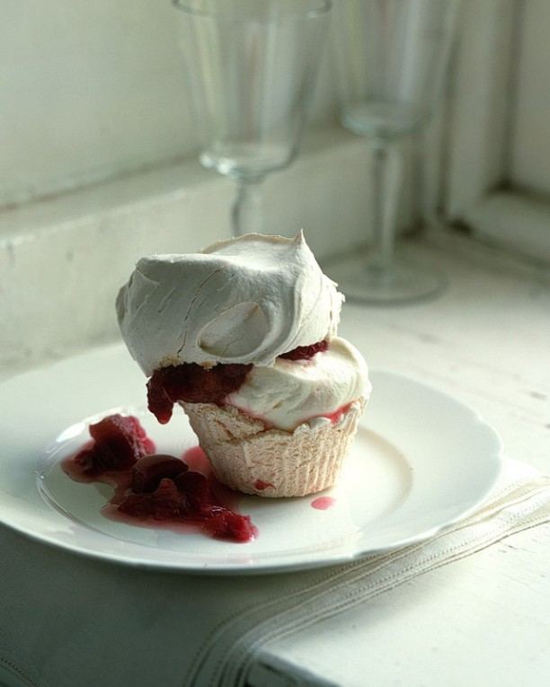 Meringue Cupcakes with Stewed Rhubarb and Raspberries - Martha Stewart Recipes